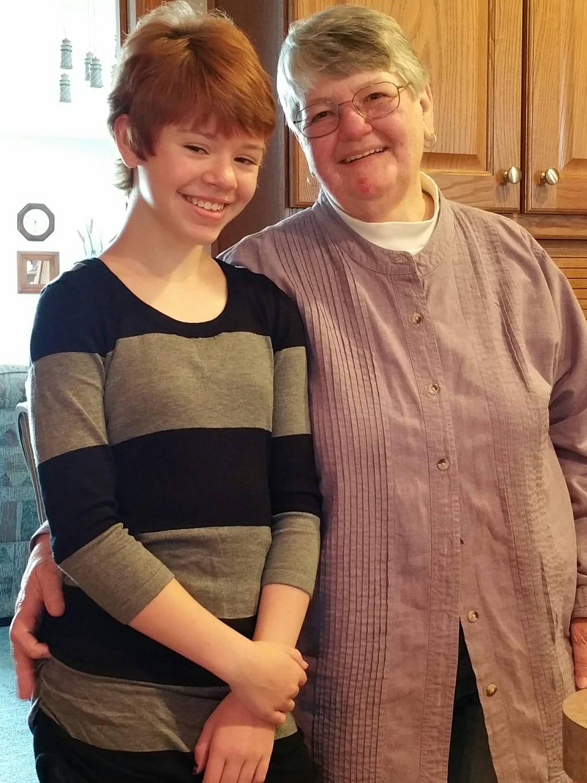 Abigail Kopf, left, and family friend Barbara Hawthone.