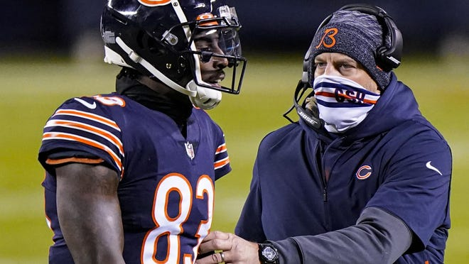 Chicago Bears wide receiver Javon Wims (83) talks with head coach Matt Nagy after being penalized leading to an ejection on Sunday, Nov. 1.