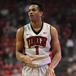 Feb 10, 2015; Las Vegas, NV, USA; UNLV Runnin' Rebels guard Rashad Vaughn (1) dribbles the ball during a game against Fresno at Thomas & Mack Center. Mandatory Credit: Stephen R. Sylvanie-USA TODAY Sports