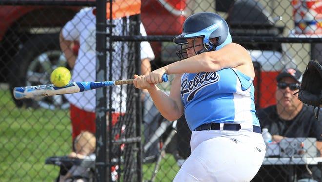 Boone County catcher Haley Delaney cracks a three-run home run.
