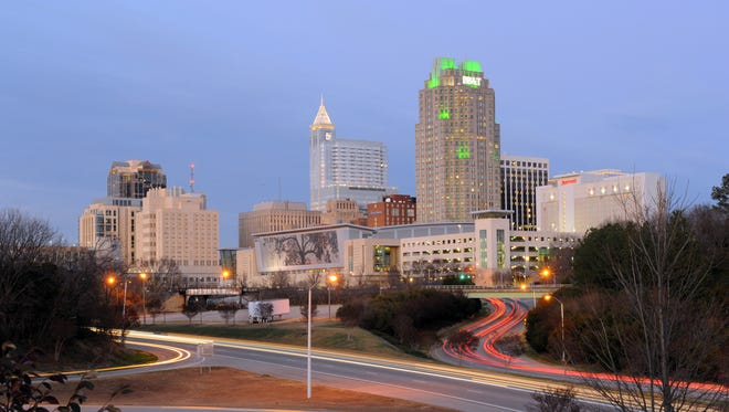 Dusk in downtown Raleigh, North Carolina. The CED Tech Venture Conference will be held in Raleigh. There is still time for tech startups and companies to apply for a demo or presentation spot at the conference.
