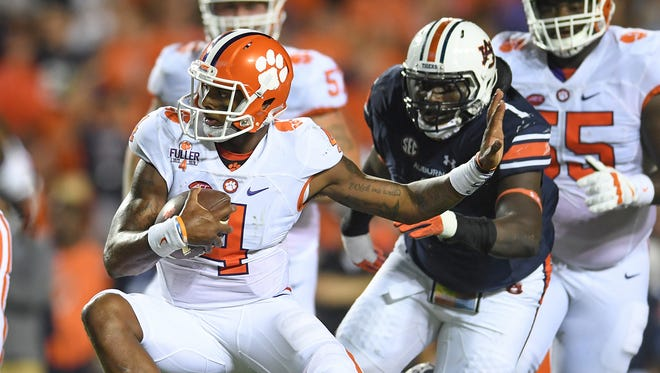Clemson quarterback Deshaun Watson (4) carries against Auburn during the second quarter of last Saturday's game at Auburn's Jordan–Hare Stadium.