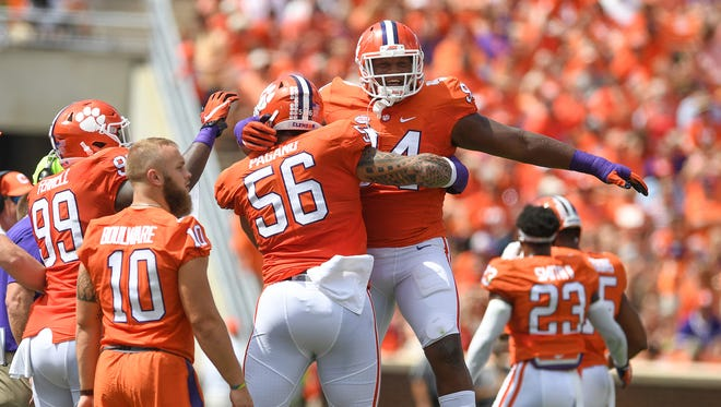 Clemson defensive tackle Scott Pagano (56) celebrates after a sack against S.C. State during the 1st quarter on Saturday, September 17, 2016 at Clemson's Memorial Stadium.