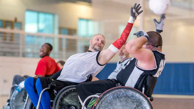 MTSU Exercise Science faculty advisor Gerald Christian plays on the wheelchair rugby team based at MTSU.