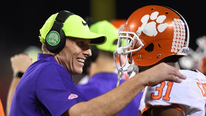 Clemson's band coaches defensive back Ryan Carter (31) during the 1st quarter of the ACC Championship at Camping World Stadium in Orlando on Saturday, December 3, 2016.