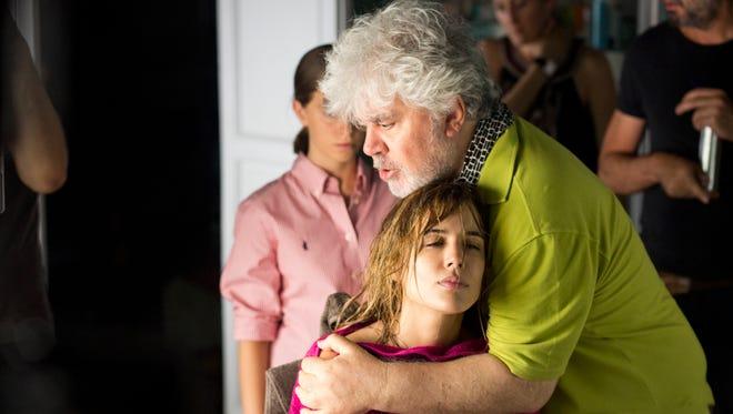 "Pedro Almodóvar and Adriana Ugarte, filming ""Julieta."""