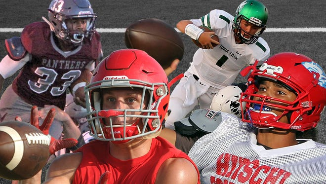 Week 1 Illustration of the TRN Player of the Week nominees of Iowa Park's Trent Green, Holliday's Justin Jones, Hirschi's Mar'tez Vrana and Seymour's David Watson. Not pictured is Graham's Chase Gilmore.