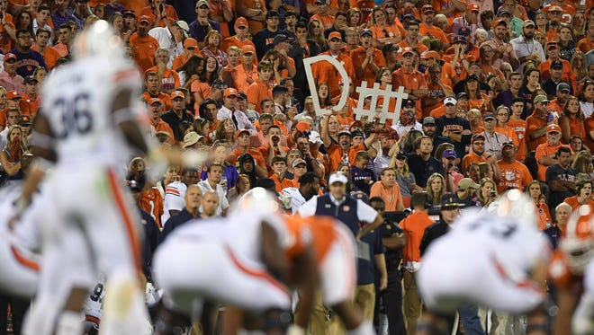 Clemson fans cheer on the Tigers defense as they play Auburn during the 3rd quarter on Saturday, September 9, 2017 at Clemson's Memorial Stadium.