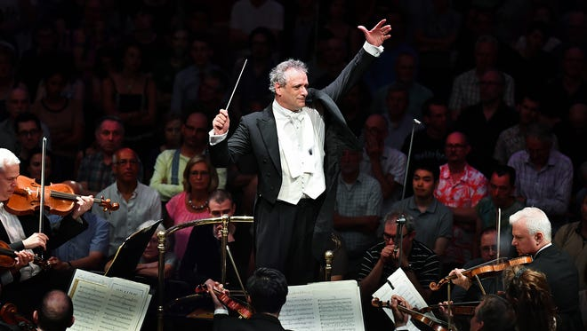 Louis Langrée conducting at the BBC Proms in London, which was broadcast to the entire United Kingdom and streamed live worldwide on BBC Radio 3.