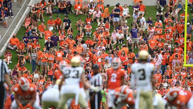 Clemson fans watch from the hill during the 2nd quarter on Saturday, October 7, 2017 at Clemson's Memorial Stadium.