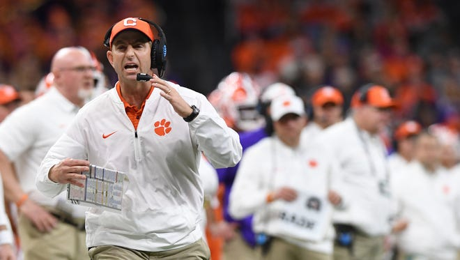 Clemson head coach Dabo Swinney during the 4th quarter of the Allstate Sugar Bowl at the Mercedes-Benz Superdome in New Orleans on Monday, January 1, 2018.