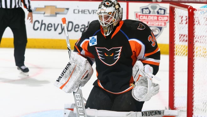 Alex Lyon made 94 saves last week in the longest game in AHL history.