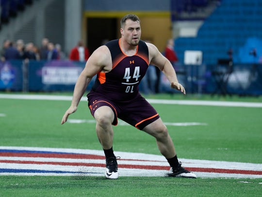 Alabama offensive lineman Ross Pierschbacher goes through workout drills during the 2019 NFL Combine at Lucas Oil Stadium on March 1, 2019, in Indianapolis.