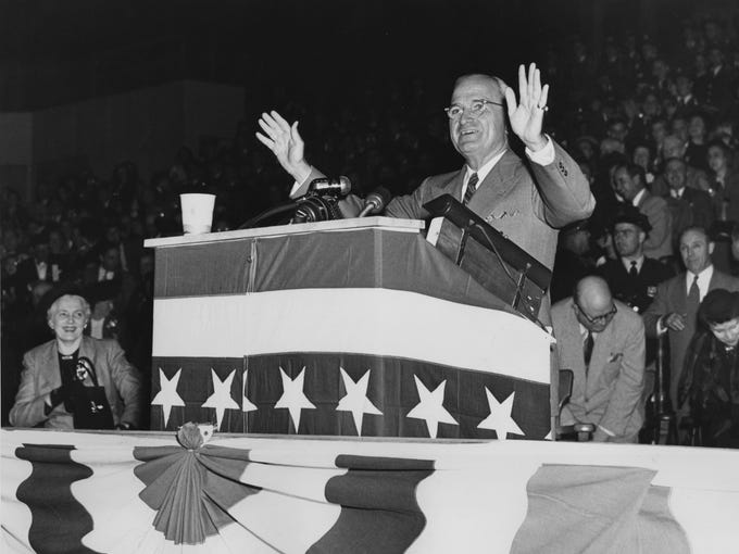 Harry S Truman at what is now Louisiville Gardens. Sept 30, 1948.