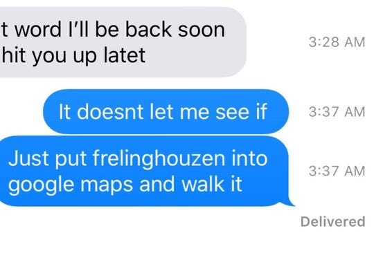 Text messages between Kenny Patterson and his friend and classmate Troy Sweeney.