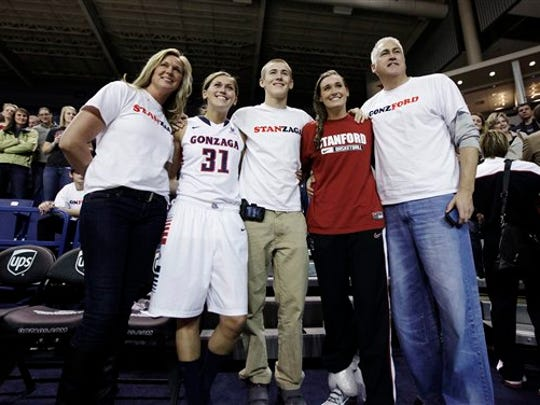Wayne Tinkle, right, poses for a photograph with his daughters, Gonzaga's Elle Tinkle (31) and Stanford's Joslyn Tinkle, second from right, his wife Lisa, left, and son Tres after an NCAA college basketball game in Spokane, Wash., in 2012.