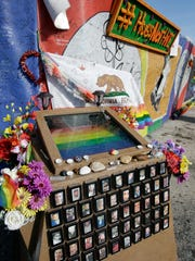 A small memorial with the names and photos of the victims of the Pulse nightclub shooting sits in front of the site, Thursday, May 4, 2017, in Orlando, Fla. Pulse nightclub owner Barbara Poma said the site will become a memorial and a museum to honor the 49 people who were killed and the dozens more who were injured during the worst mass shooting in modern U.S. history. (AP Photo/John Raoux)