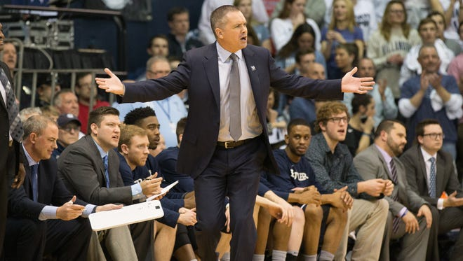 Butler Bulldogs head coach Chris Holtmann reacts against the Villanova Wildcats during the first half at The Pavilion on Feb. 22.