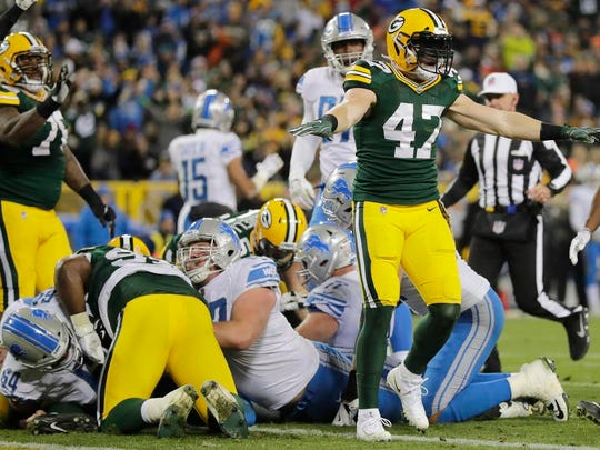 Green Bay Packers inside linebacker Jake Ryan (47) celebrates after the Packers stopped the Detroit Lions on 3rd and goal in the fourth quarter at Lambeau Field on Monday, November 6, 2017 in Green Bay, Wis.