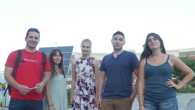 Student leaders of the Renewable Energy Network are pictured on campus. From left: Deke Ludwigg, Holly St. Jean, Jane Stromberg, Slayton Marks, Roz Arno. The REN has struggled to receive funding from the Clean Energy Fund, a tuition-supported investment pool for clean energy projects.