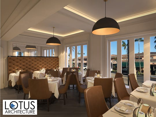 A rendering of the front dining room at Sails Restaurant,