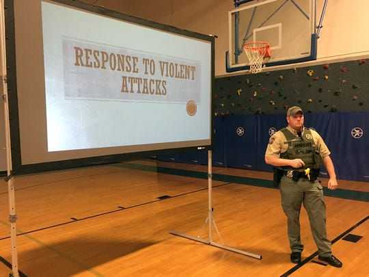 Cheatham County School District School Resource Officers have been holding grade-level safety meetings for middle school and high school students throughout the district over the past two weeks. Safety protocols and practices have been discussed, and students were introduced to the district's new School Safety email tip line. If students, parents or community members know of an unsafe situation in a school, they can pass on that information to school officials by sending an email to tip@ccstn.org. Pictured is SRO Jeff Key making a presentation at Sycamore Middle School.