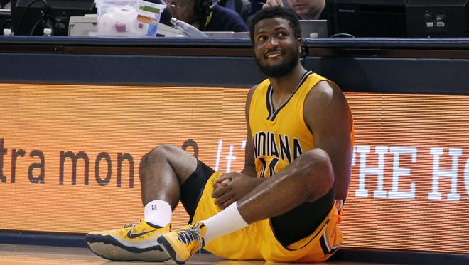 Indiana Pacers forward Solomon Hill (44), shown here waiting to check into the game against the Utah Jazz on Nov. 10, has changed his password on Twitter to element the distractions provided by the site.