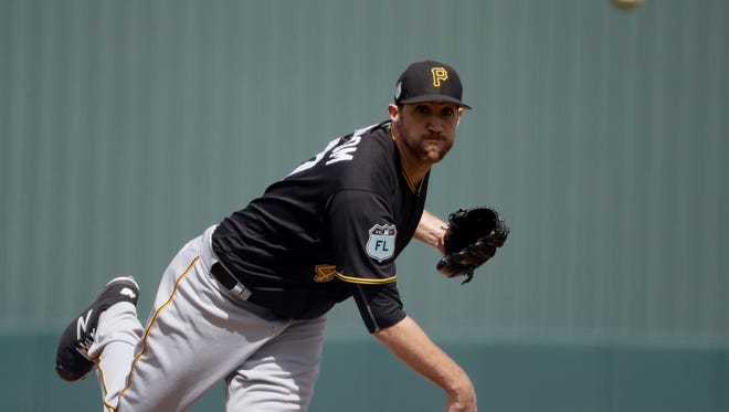 Pittsburgh Pirates starting pitcher Josh Lindblom throws in the first inning of an exhibition spring training baseball game against the Minnesota Twins in Fort Myers, Fla., Wednesday, March 1, 2017. (AP Photo/David Goldman)