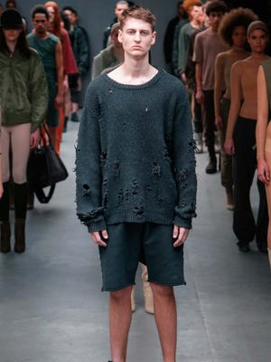 Kanye West, in collaboration with Addidas, showcased an athletic collection heavy on body stockings and ratty sweatshirts.