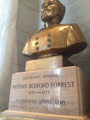 The bust of Nathan Bedford Forrest, a Confederate general and early leader of the Ku Klux Klan, sits at the Tennessee statehouse.
