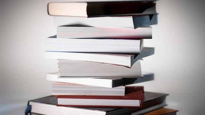 close-up of a stack of books