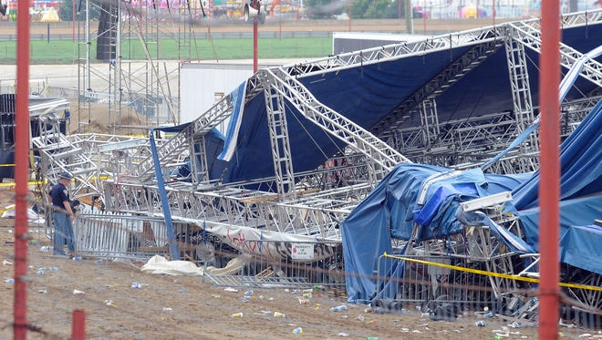 The Indiana State Fair's collapsed rigging and stage the day after the Aug.13, 2011, collapse.