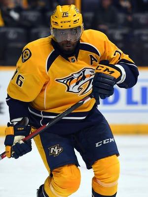 Nashville Predators defenseman P.K. Subban (76) plays during a preseason hockey game against the Columbus Blue Jackets at Bridgestone Arena.