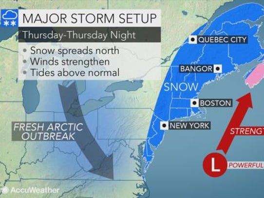 Snow is expected to blast the East Coast on Thursday.