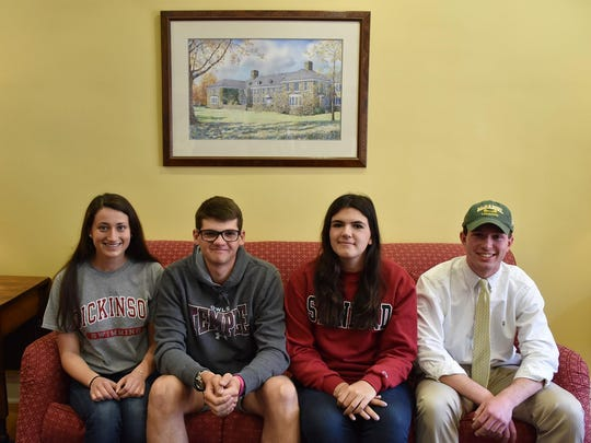 Wilmington Friends students who signed letters of intent are, from left, Demetria Ruhl, Dickinson College swimming; Brendan Wren, Temple University crew; Cat Clark, Stanford University crew; and Jakob Katzen, McDaniel College lacrosse.