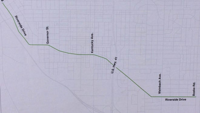 A 3.3. mile stretch of Riverside Drive from Boeke Road to Mulberry Street.  The city will repave the section using a $707,000 state grant and an equal match using city funds.