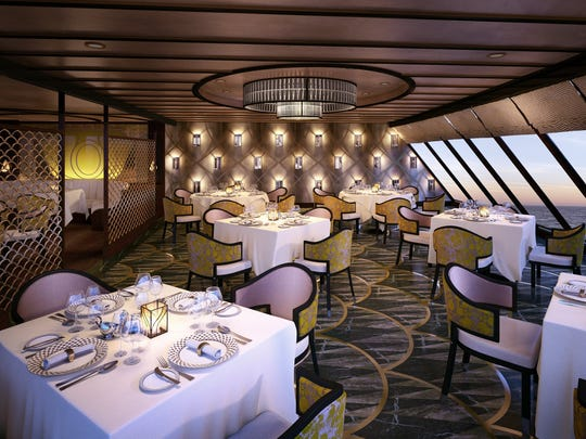 Rendering of the Chartreuse dining room aboard the Regent Seven Seas Explorer that launches in 2016.