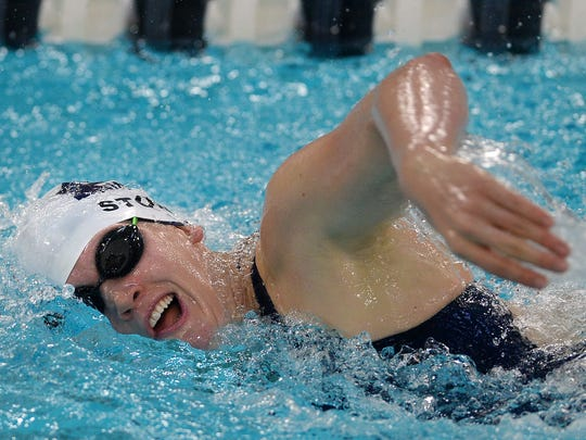 Pittsford's Lindsay Stone wins the 500 yard freestyle with a time of 5:04.59 during a meet against Fairport at Pittsford Mendon High School on Tuesday, Sept. 27, 2016.