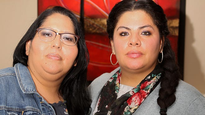 Carmen Alegria, left, and Angelica Soto are best friends who say they do just about everything together. On October 1, 2017, they even got shot together. The two, pictured on March 3, 2018, were among more than 400 people injured by gunfire during the Route 91 Harvest Festival in Las Vegas, Nevada. Photo by Phil Didion/Cincinnati Enquirer