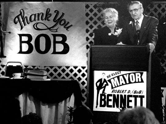 Bob and Janet Bennett on the campaign trail in the early 1990s.