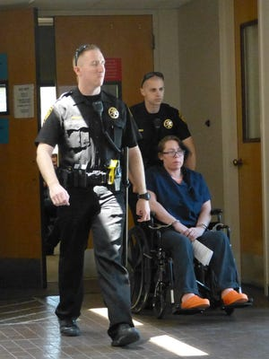 Grace Ward is escorted back to Shasta County Jail following her appearance Tuesday in a Shasta County courtroom.