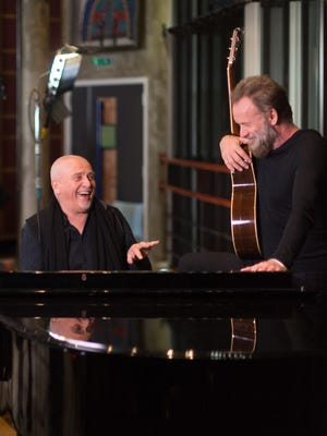 Peter Gabriel (left) and Sting will play the Palace on Thursday.