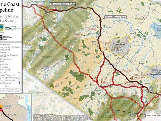 Proposed Atlantic Coast Pipeline routes through Augusta County