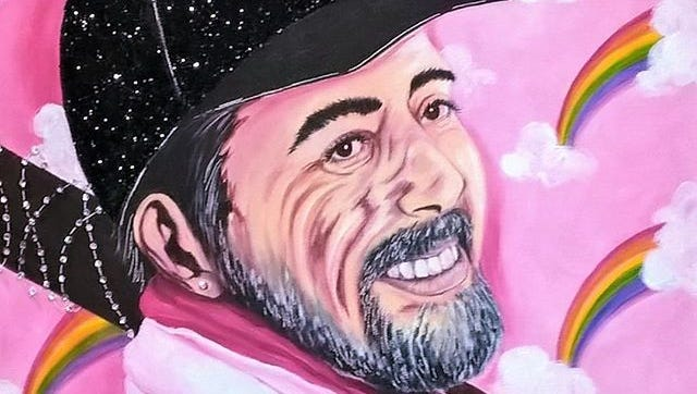 Heather Grisham painted The Walking Dead character Negan against a pink background with rainbows as a contrast with his violent nature on the show.