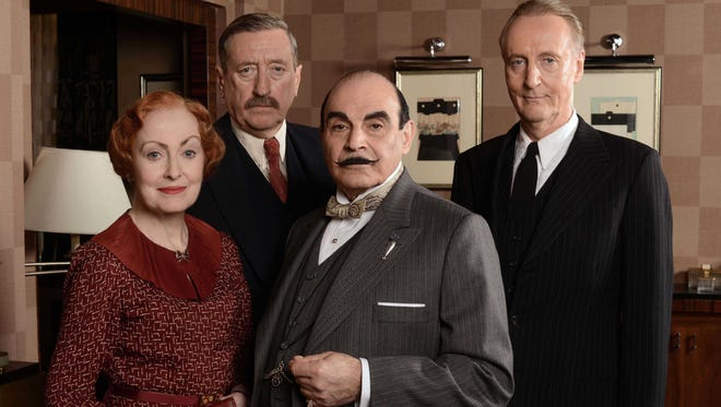 Returning cast members of 'Agatha Christie's Poirot,' from left: Pauline Moran as Miss Lemon, Philip Jackson as Inspector Japp, David Suchet as Hercule Poirot and Hugh Fraser as Capt. Hastings.