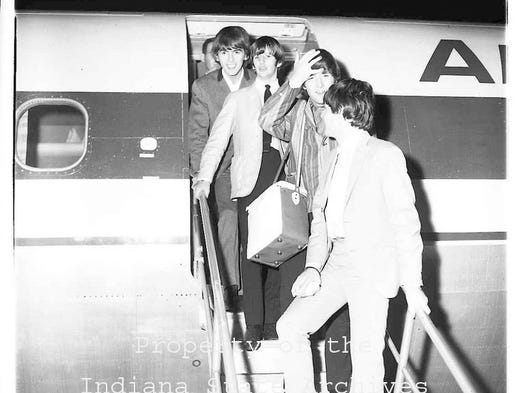 The Beatles arrive at Weir Cook Airport in Indianapolis for the 1964 Indiana State Fair.