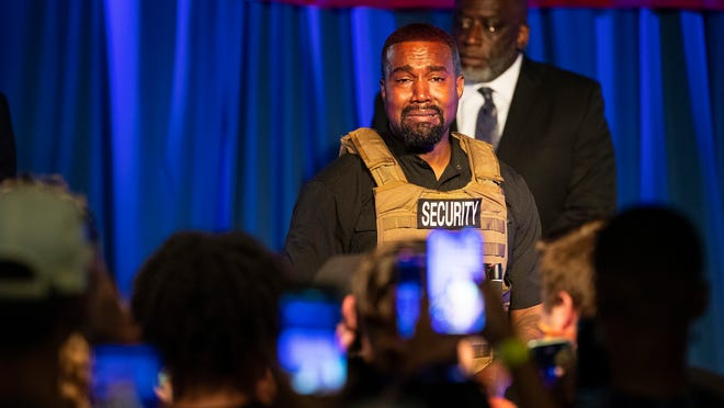 Rapper Kanye West makes his first 2020 presidential campaign appearance July 19 in North Charleston, South Carolina. [ASSOCIATED PRESS ARCHIVE / 2020]