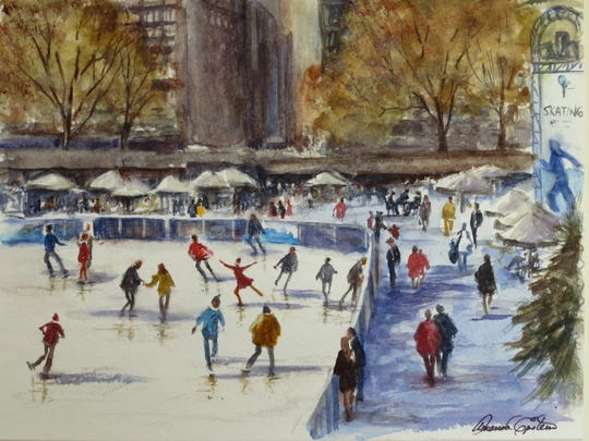"""Skaters on Citi Pond, Bryant Park,"" a watercolor by Amanda Epstein, is an example of the art work on view at Bannerman Island Gallery."