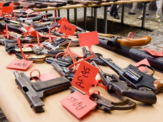 In 2016, Monmouth County's gun buyback program netted nearly 200 guns. The guns were tagged and laid out on a table at the Monmouth County Prosecutors Office in Freehold following the event.