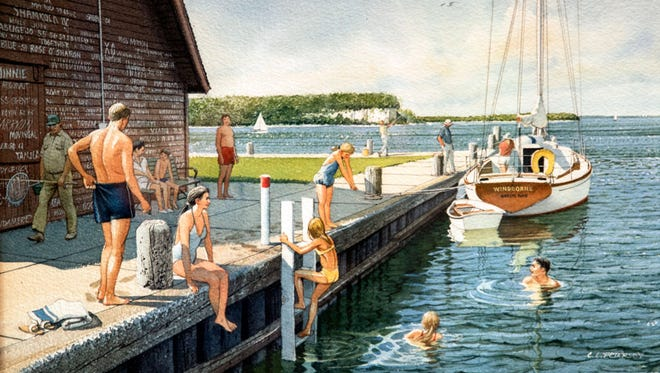 """Swimming on Anderson Dock,"" a 1991 watercolor by Charles L. Peterson, whose retrospective starts July 22 at the Miller Art Museum in Sturgeon Bay."